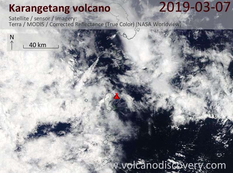 Satellite image of Karangetang volcano on  7 Mar 2019