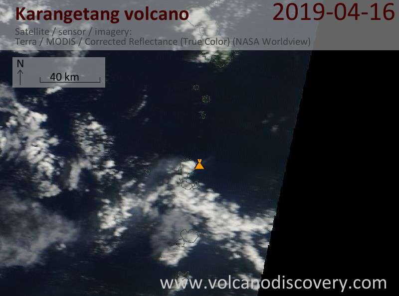 Satellitenbild des Karangetang Vulkans am 16 Apr 2019