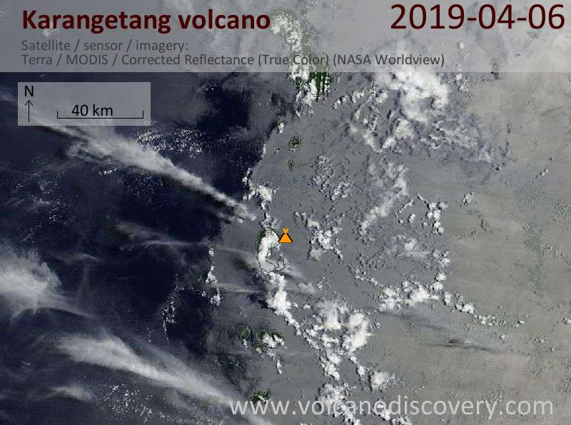 Satellite image of Karangetang volcano on  6 Apr 2019