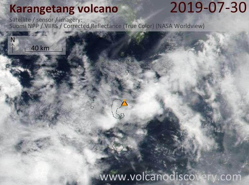 Satellite image of Karangetang volcano on 30 Jul 2019
