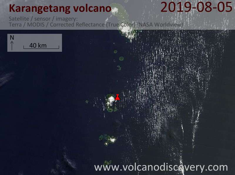 Satellite image of Karangetang volcano on  5 Aug 2019