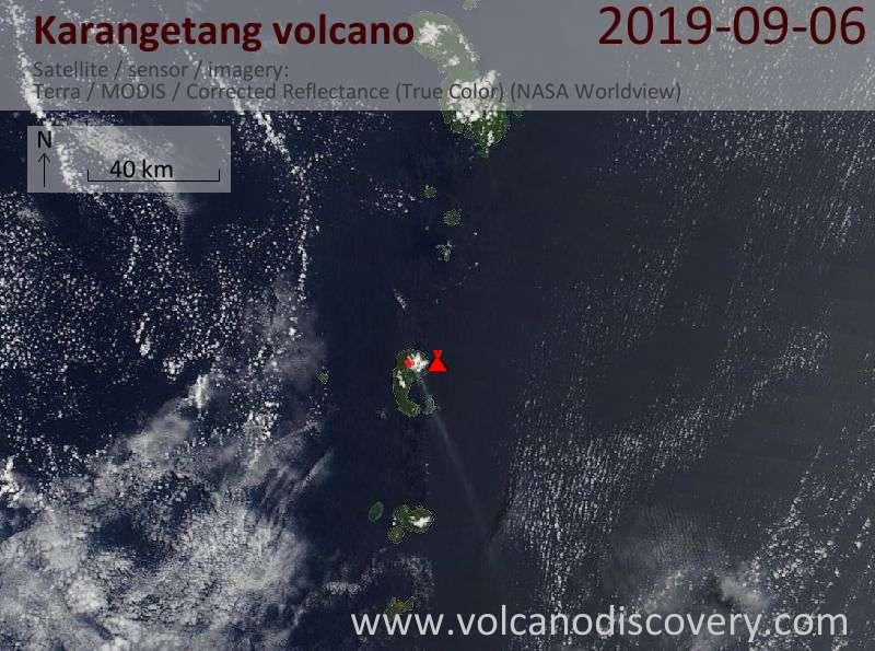 Satellite image of Karangetang volcano on  6 Sep 2019