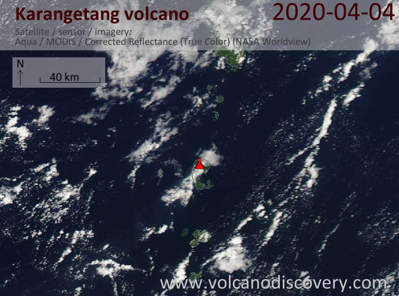 Satellite image of Karangetang volcano on  4 Apr 2020