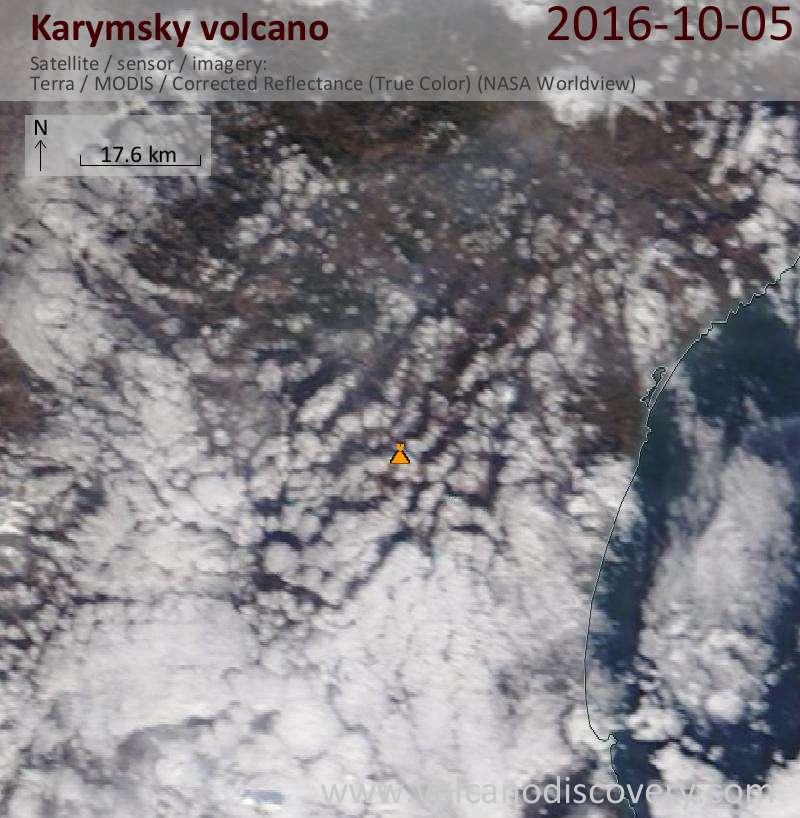 Satellite image of Karymsky volcano on  5 Oct 2016