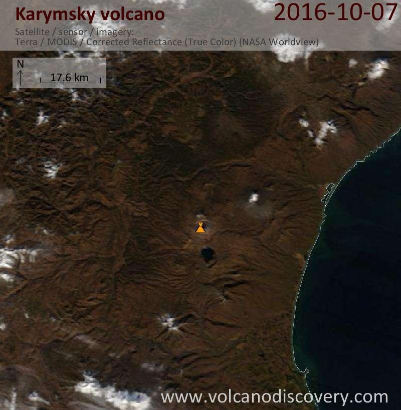 Satellite image of Karymsky volcano on  7 Oct 2016