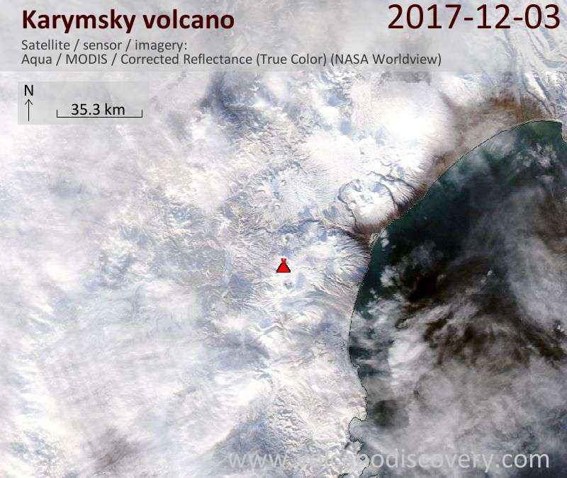 Satellite image of Karymsky volcano on  3 Dec 2017