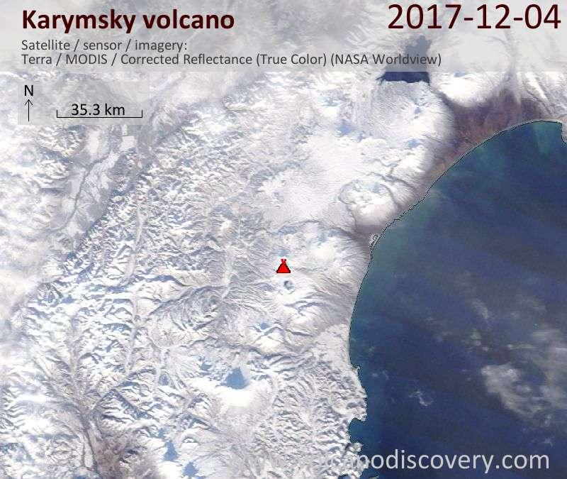 Satellite image of Karymsky volcano on  4 Dec 2017