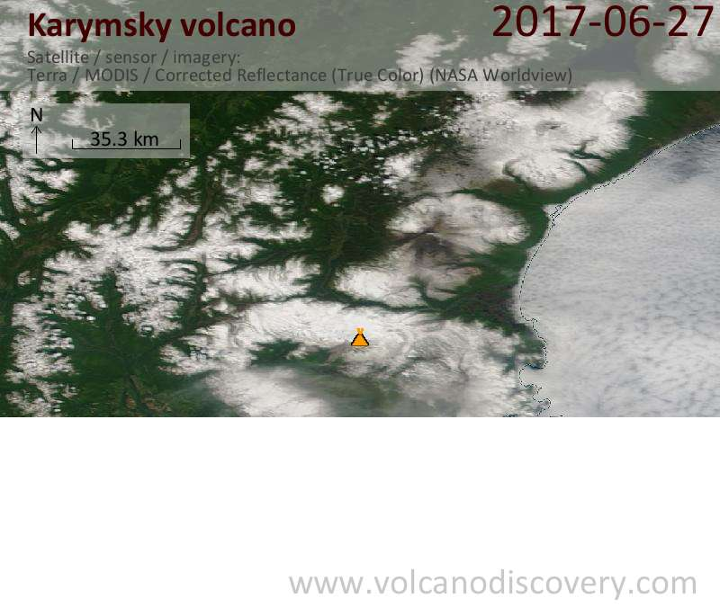 Satellite image of Karymsky volcano on 27 Jun 2017