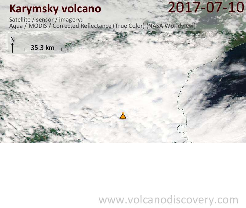 Satellite image of Karymsky volcano on 10 Jul 2017