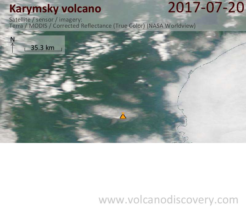 Satellite image of Karymsky volcano on 20 Jul 2017