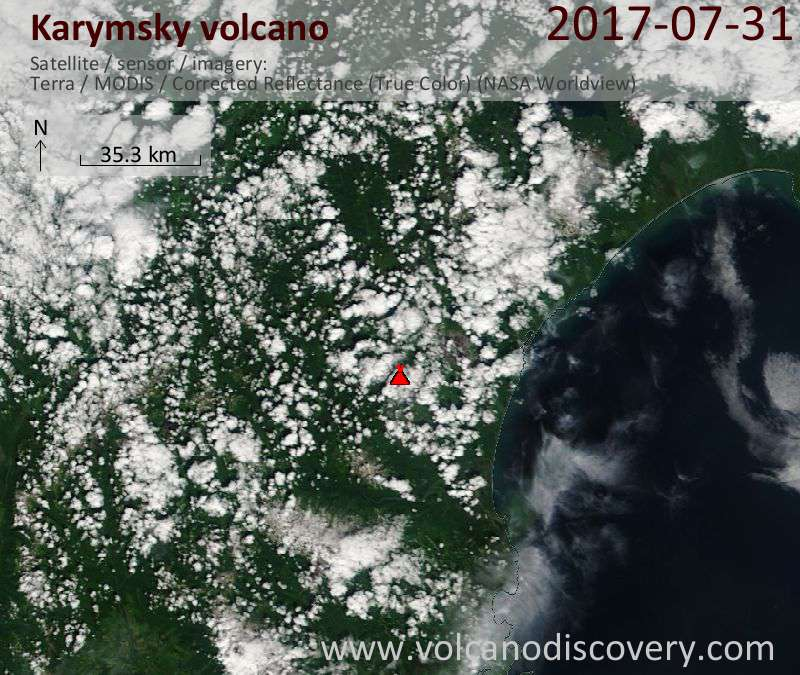 Satellite image of Karymsky volcano on 31 Jul 2017