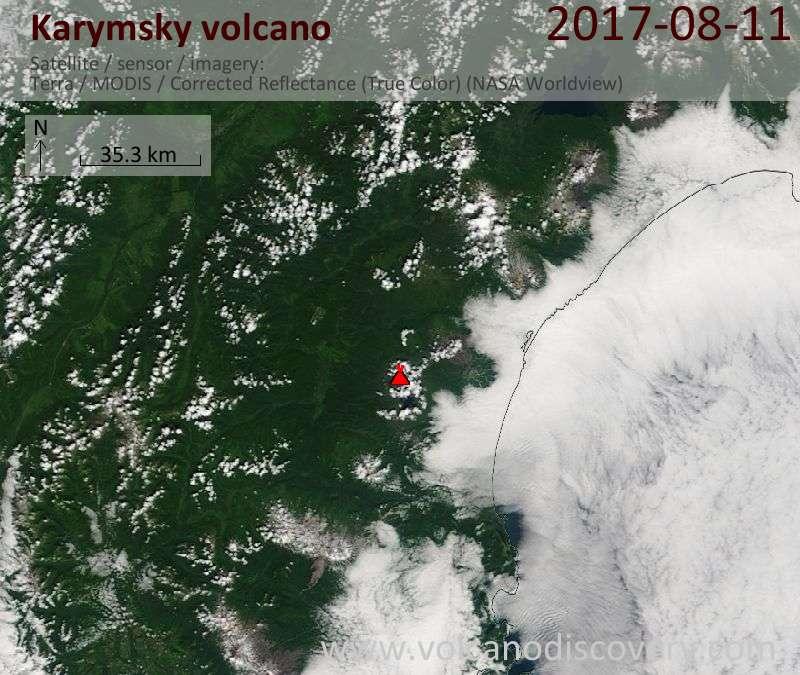 Satellite image of Karymsky volcano on 11 Aug 2017