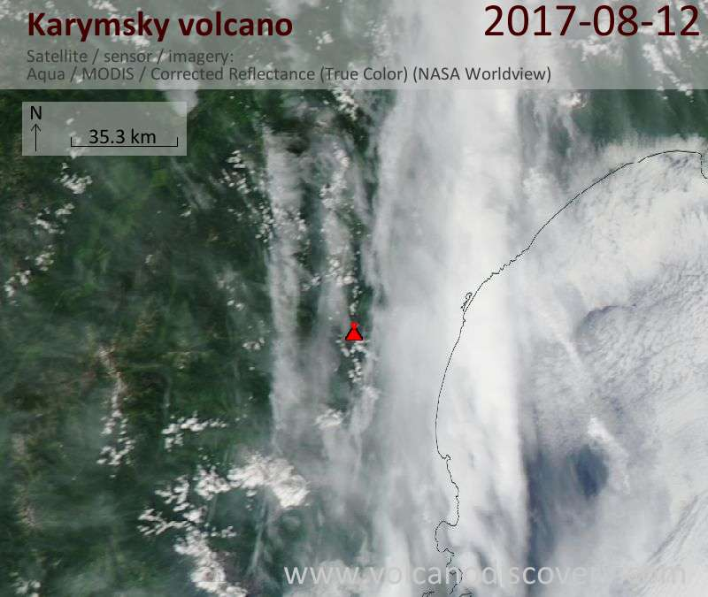 Satellite image of Karymsky volcano on 12 Aug 2017