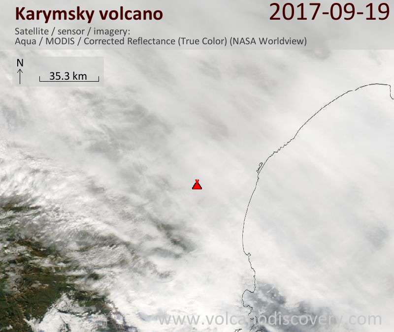 Satellite image of Karymsky volcano on 19 Sep 2017