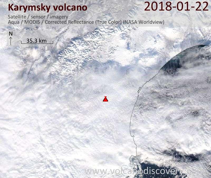 Satellite image of Karymsky volcano on 22 Jan 2018