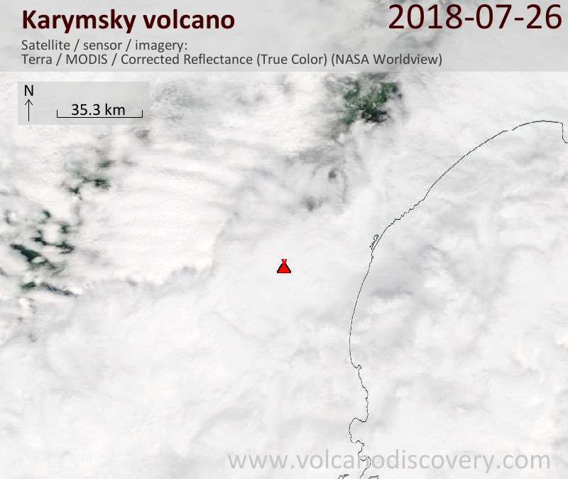 Satellite image of Karymsky volcano on 26 Jul 2018