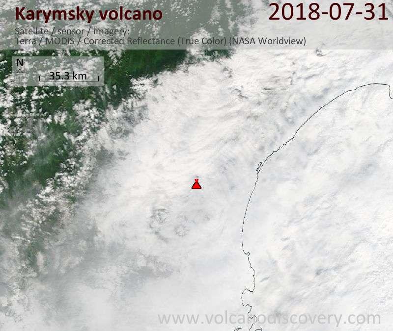 Satellite image of Karymsky volcano on 31 Jul 2018