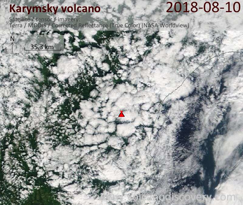 Satellite image of Karymsky volcano on 10 Aug 2018