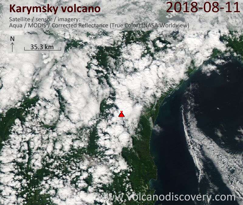 Satellite image of Karymsky volcano on 11 Aug 2018