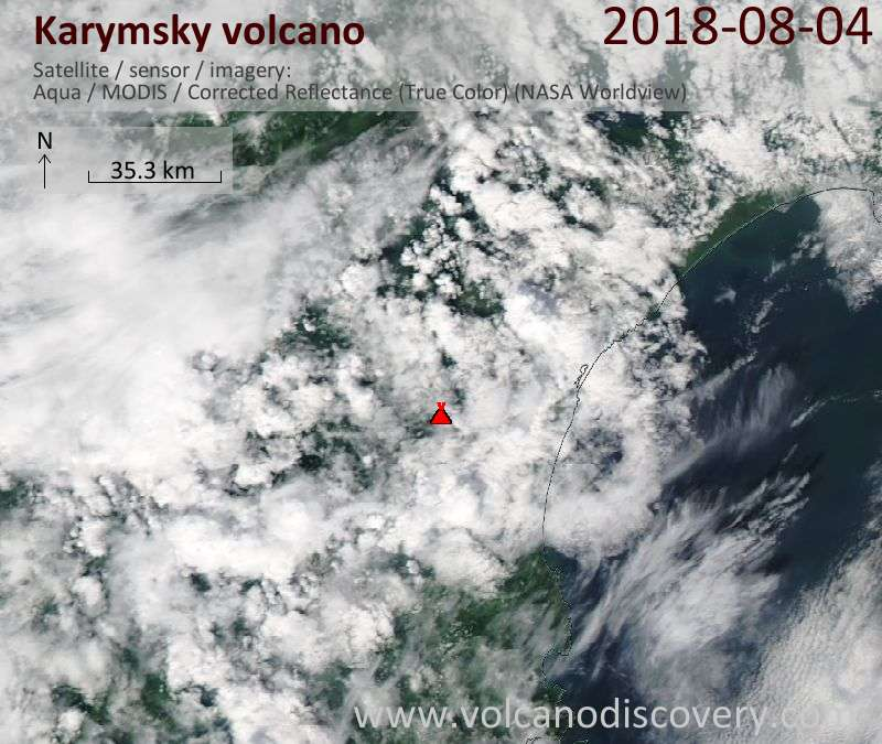 Satellite image of Karymsky volcano on  4 Aug 2018