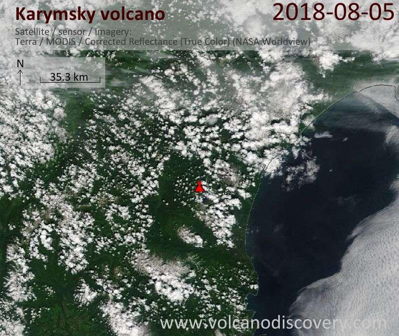 Satellite image of Karymsky volcano on  5 Aug 2018