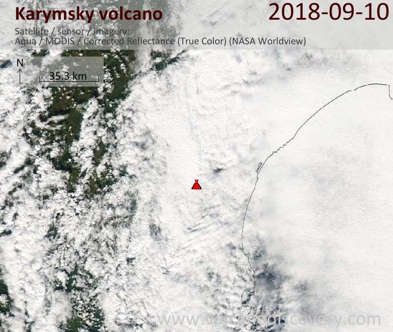 Satellite image of Karymsky volcano on 10 Sep 2018