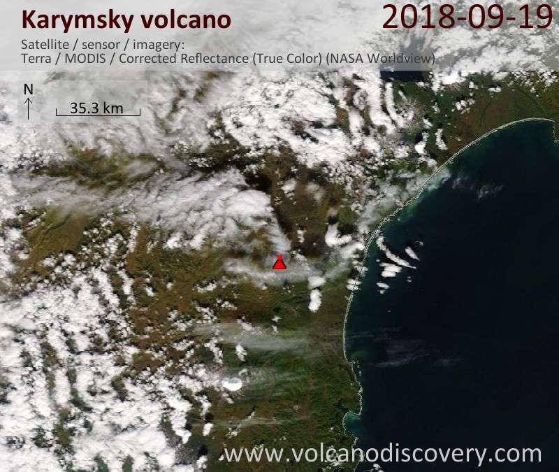 Satellite image of Karymsky volcano on 19 Sep 2018