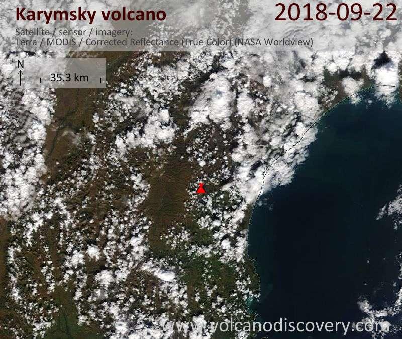 Satellite image of Karymsky volcano on 22 Sep 2018