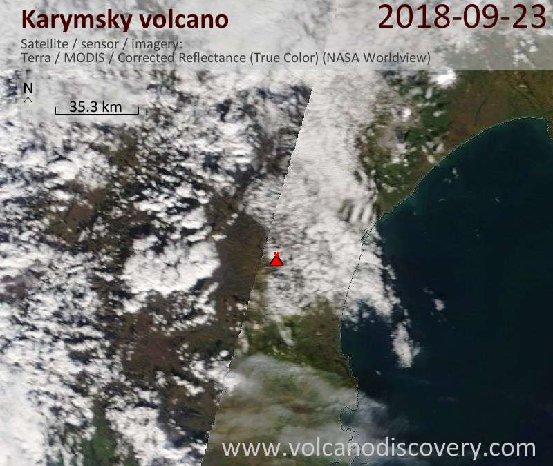 Satellite image of Karymsky volcano on 23 Sep 2018