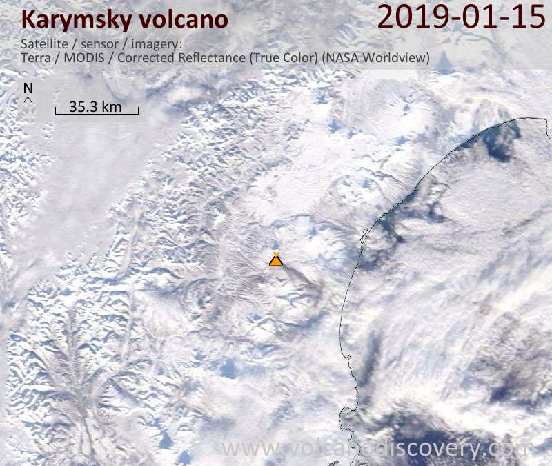 Satellite image of Karymsky volcano on 15 Jan 2019
