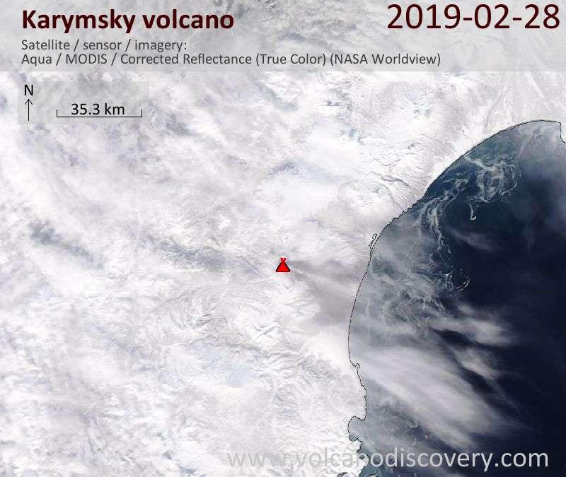 Спутниковое изображение вулкана Karymsky 28 Feb 2019