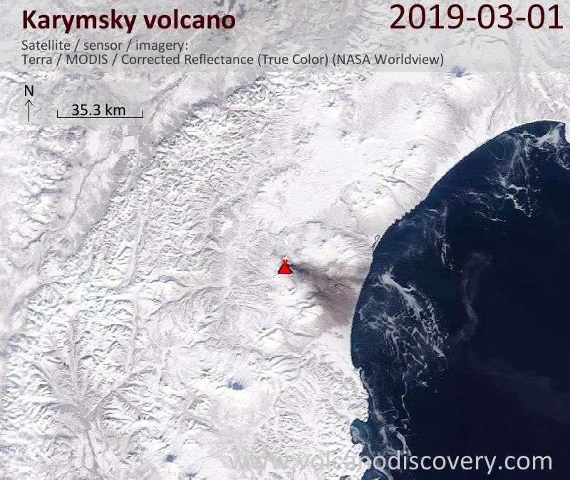 Спутниковое изображение вулкана Karymsky  1 Mar 2019