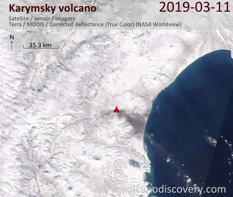 Satellite image of Karymsky volcano on 11 Mar 2019