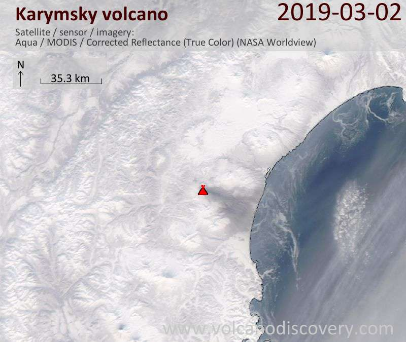 Satellite image of Karymsky volcano on  2 Mar 2019