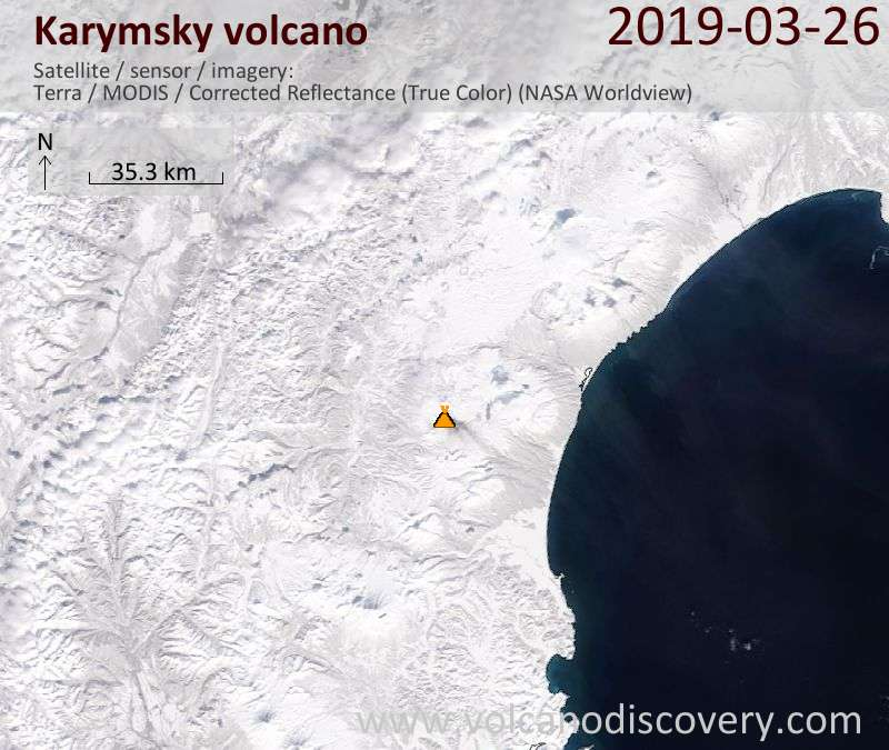 Satellitenbild des Karymsky Vulkans am 26 Mar 2019