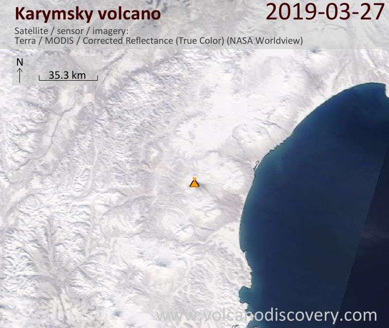 Satellitenbild des Karymsky Vulkans am 27 Mar 2019