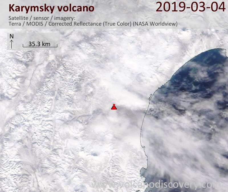 Спутниковое изображение вулкана Karymsky  4 Mar 2019