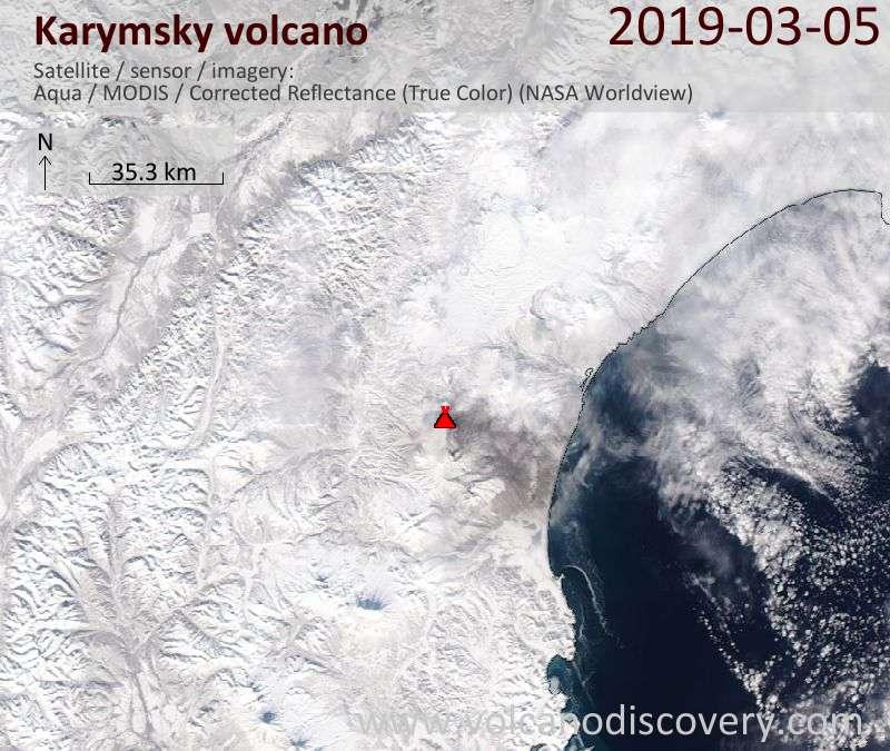 Спутниковое изображение вулкана Karymsky  5 Mar 2019