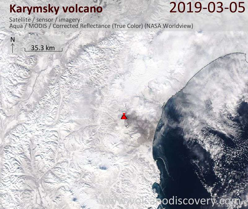Satellite image of Karymsky volcano on  5 Mar 2019