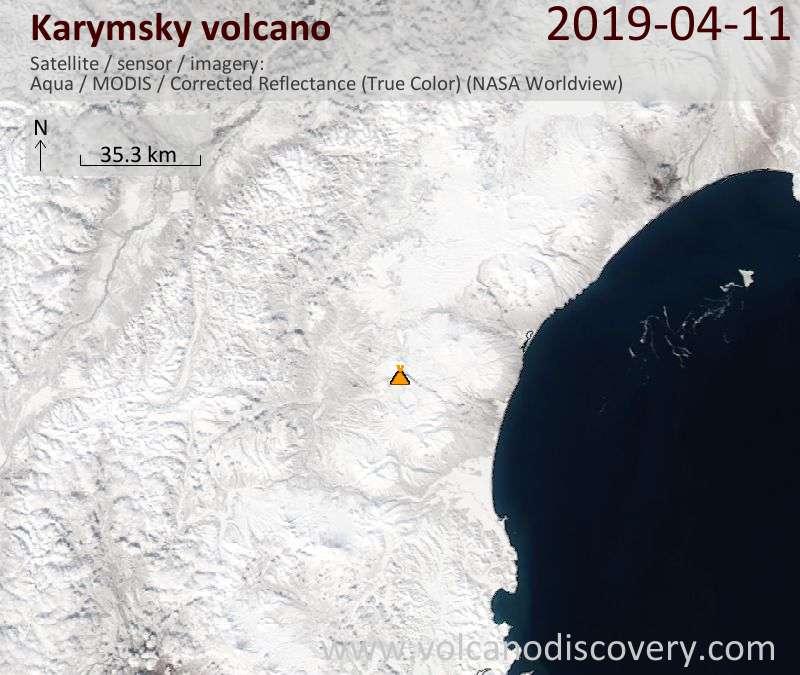 Satellitenbild des Karymsky Vulkans am 11 Apr 2019