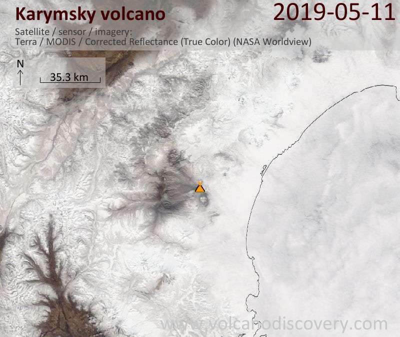 Satellite image of Karymsky volcano on 11 May 2019