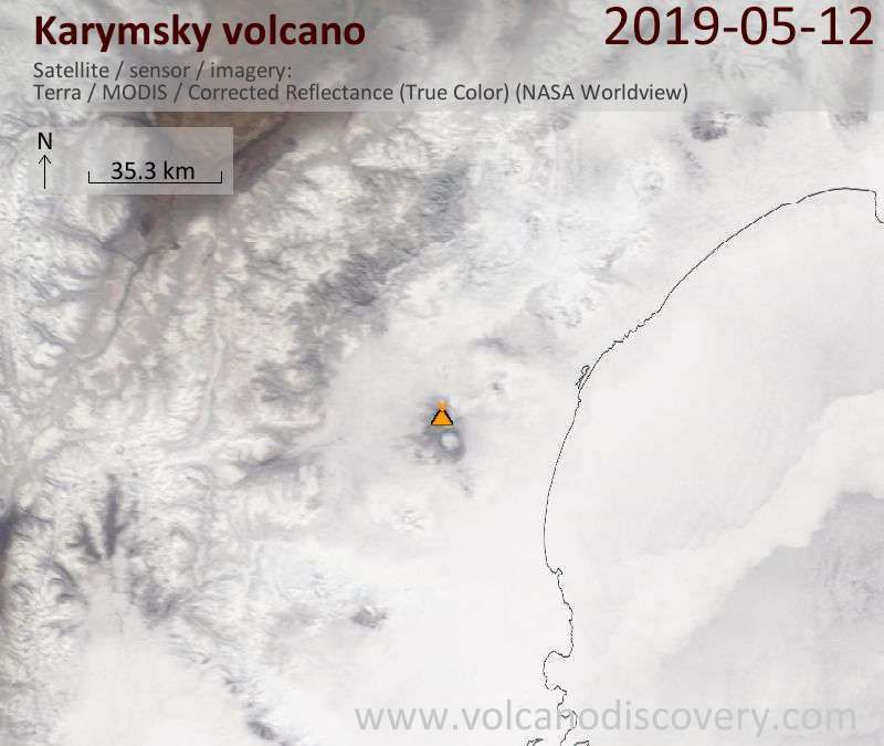 Satellite image of Karymsky volcano on 12 May 2019