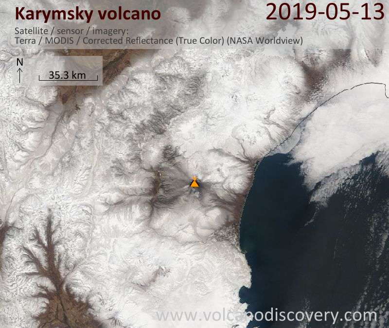 Satellite image of Karymsky volcano on 13 May 2019