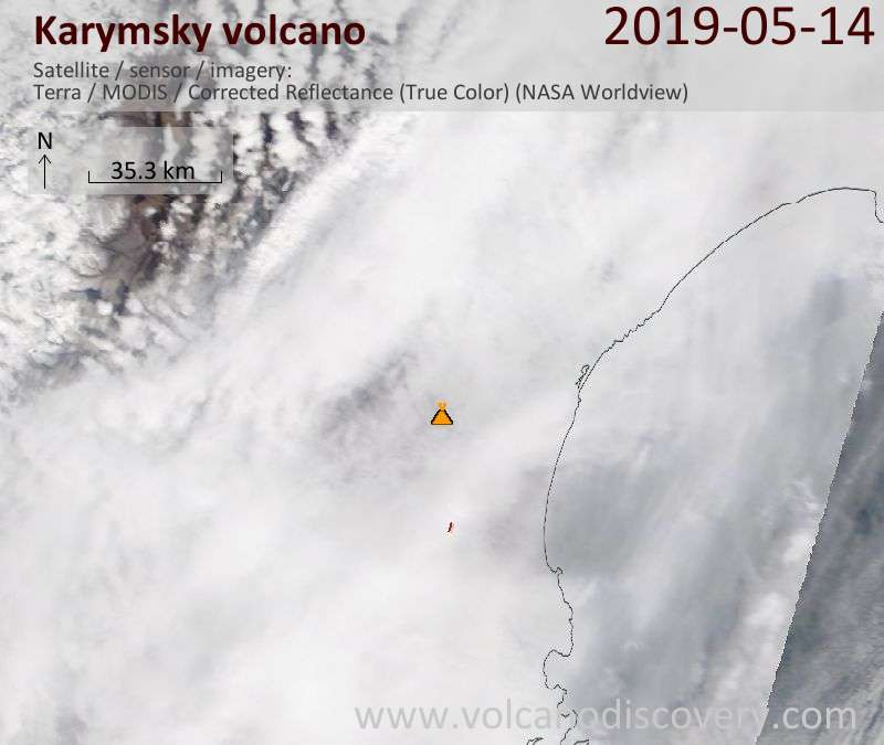 Satellite image of Karymsky volcano on 14 May 2019