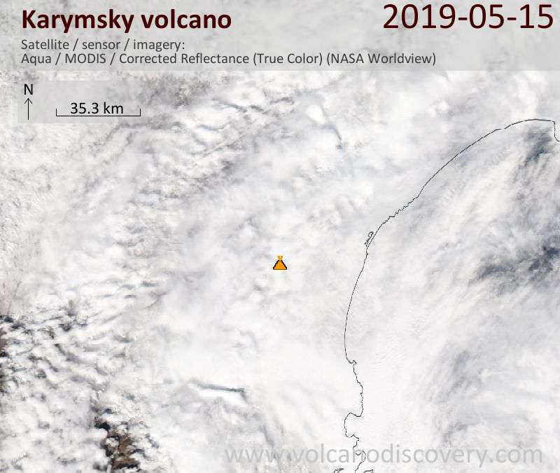 Satellite image of Karymsky volcano on 15 May 2019