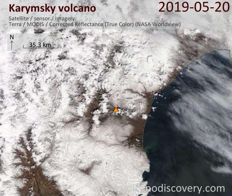 Satellite image of Karymsky volcano on 20 May 2019