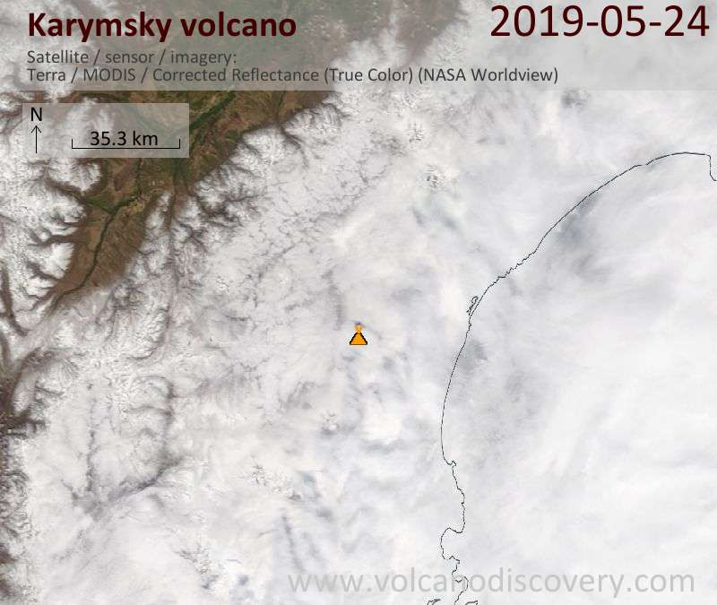Satellite image of Karymsky volcano on 24 May 2019