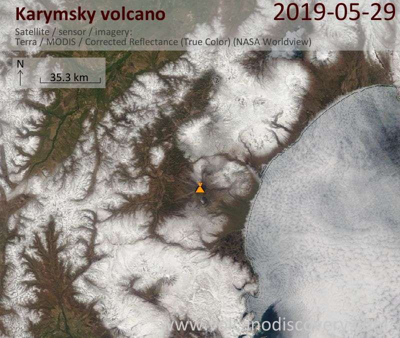 Satellite image of Karymsky volcano on 29 May 2019