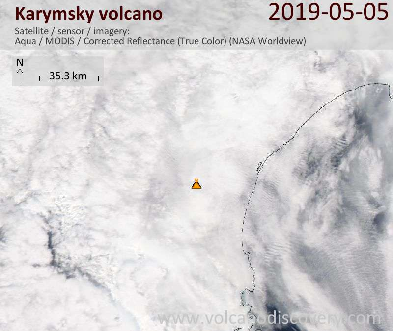 Satellite image of Karymsky volcano on  5 May 2019