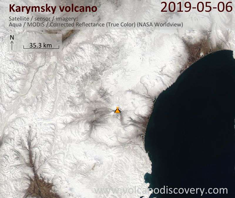 Satellite image of Karymsky volcano on  6 May 2019
